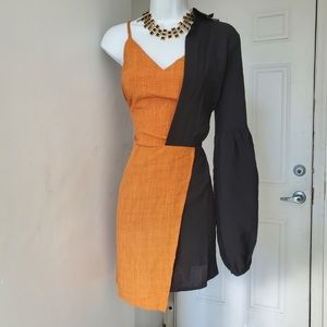 CRR BLack Burnt Orange Asymmetrical Mini Dress